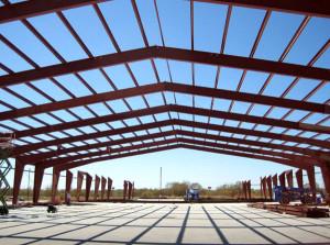 framing of steel warehouse framing under construction