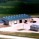 Arial Shot of a recently competed Rhino Steel Building being used for an agricultural farm