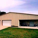 House and garage combination steel building with inset porch