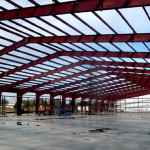 Industrial storage red steel framing
