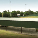 Steel green batting cage recreational building