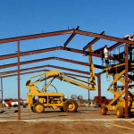 A Rhino Steel Buildings Being Assembled in the Framing Stage