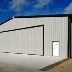 Steel airplane hangar building