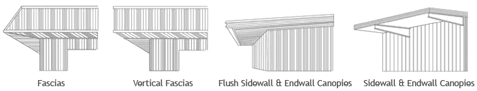 different eaves available as steel building exterior options