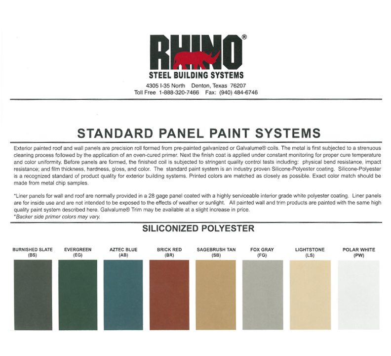 RHINO available steel building panel colors
