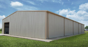 60x100 white and tan metal storage building
