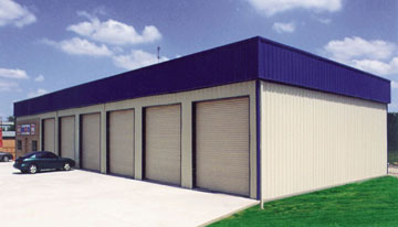 metal garage with six bays and blue metal roof