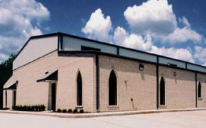 RHINO steel church building with brick exterior