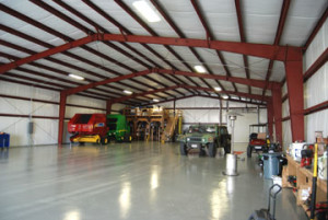 The interior of one of RHINO prefabricated steel buildings