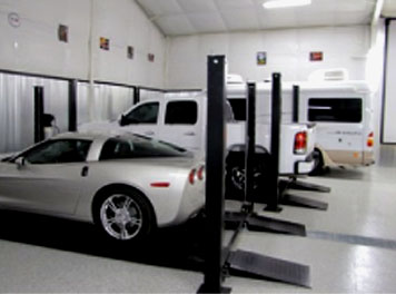 personal metal garage with vars and RV
