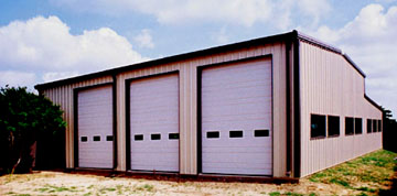 large 3-bay metal garage