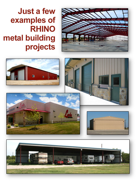 Photo collage of RHINO steel buildings.