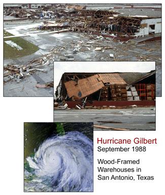 Wood-framed warehouses destroyed by Hurricane Gilbert