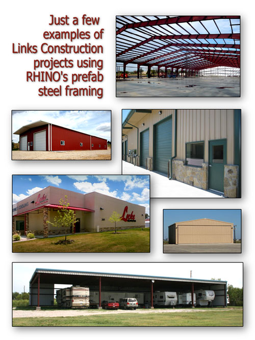 Examples of RHINO Steel Buildings by Links Construction