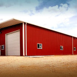 Red and white steel workshop building