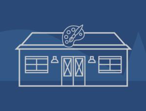 Icon depicting a metal DIY building for shed sheds, man caves, or workshops.