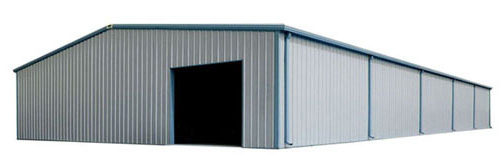Photo of a gray 60 x 100 metal building with blue trim.