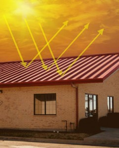 Cool-coated steel roof panels for metal buildings reflect heat