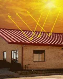 How cool-coated steel roof panels reflect heat away from the metal building