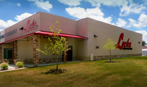 RHINO commercial steel building with stucco and stone trim in Denton, Texas.