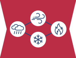 Icon indicating how steel buildings protect against wind, storms snow, and fire.
