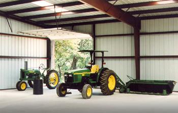 RHINO Metal Farm Building with tractors