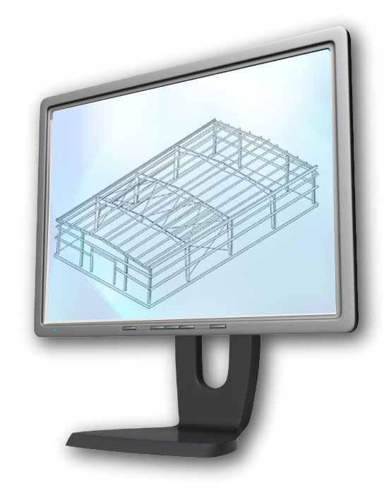 Steel building framing displayed on a computer screen.