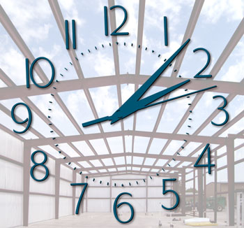 A clock superimposed over a photo of a metal building under construction