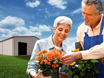 A couple enjoying the health benefits of steel buildings