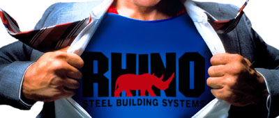 Man hurriedly ripping off shirt reveals a T-Shirt with a RHINO Steel Building System logo
