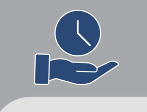 Iconic drawing of a hand under a clock depicting time-saving RHINO buildings.