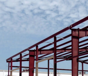Photo of a RHINO steel building under construction.