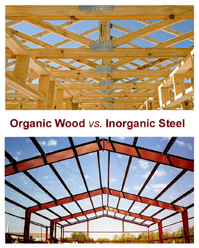 Photos comparing wood framing to steel framing.