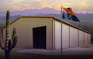 Steel Buildings Arizona with state flag