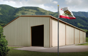 Steel Buildings California with state flag