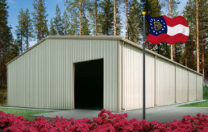 steel buildings in Georgia with state flag