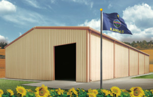 Steel Buildings in Kansas with state flag