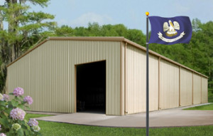 metal buildings in Louisiana with state flag