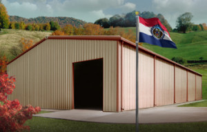 metal buildings in Missouri with state flag