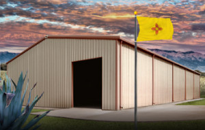 Steel Buildings in New Mexico with state flag
