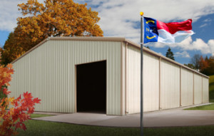 metal buildings in North Carolina with state flag