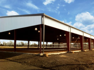 Photo of a RHINO horseback riding arena with a dirt floor.