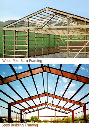 Photos comparing wooden pole barn framing to commercial-grade steel framing from RHINO.