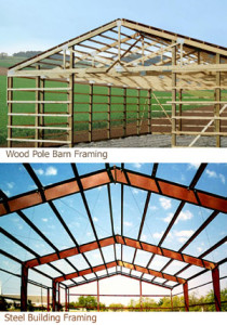 Two photos compare wood pole barn framing to steel barn framing