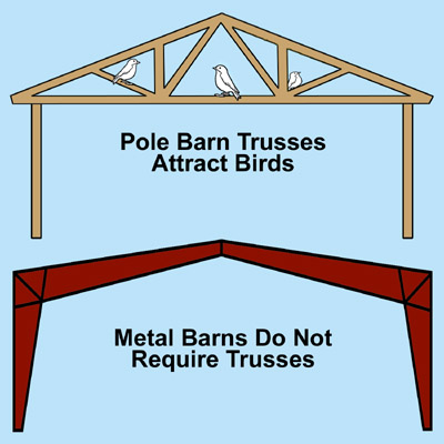 Illustrations show why pole barn rafters attract birds and metal barn rafters do not