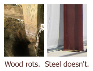 Two photos compare the rotting wood of a pole barn to the rot-proof consistency of steel barns