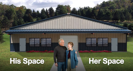 Happy couple stands before their metal building divided into space for him and space for her