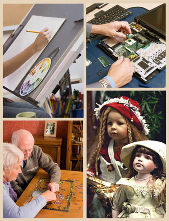 A collage of hobbies and collectibles