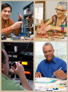 A collage of hobbies you could enjoy in a steel building backyard hobby house or radio shack