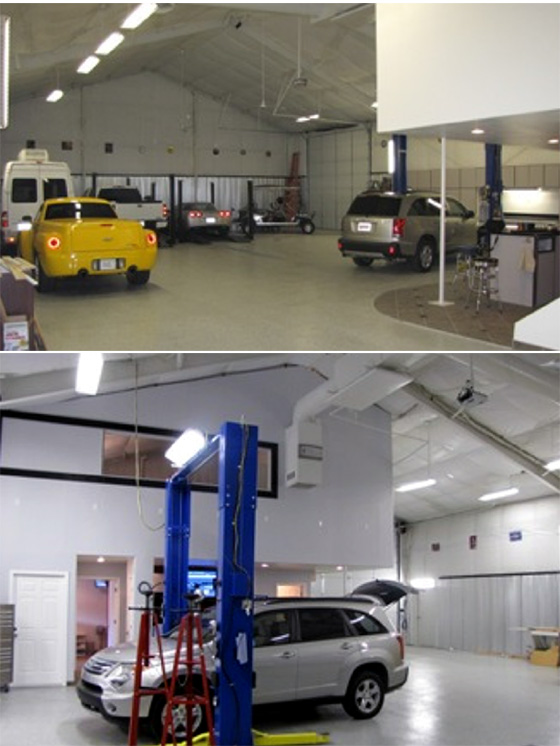 Interior photos of a combination garage, office, workshop steel building.